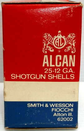 Side of Alcan Shotshell box by Smith & Wesson Fiochhi