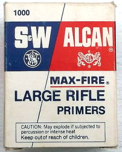 Box of Alcan Maxfire rifle primers made by Smith & Wesson Fiocchi