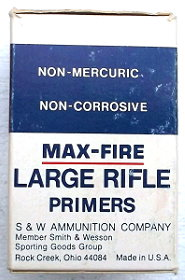Side of S&W  Alcan Maxfire primer box
